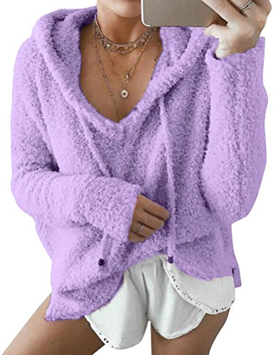 Ezcosplay Women's Casual Comfy Mohair Long Sleeve Hooded Pullover Tops Blouse