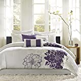 Purple and Grey Bedding Sets Madison Park Lola Queen Size Bed Comforter Set Bed in A Bag - Purple, Grey, Floral, Flowers – 7 Pieces Bedding Sets – Cotton Sateen, Cotton Poly Crossweave Bedroom Comforters
