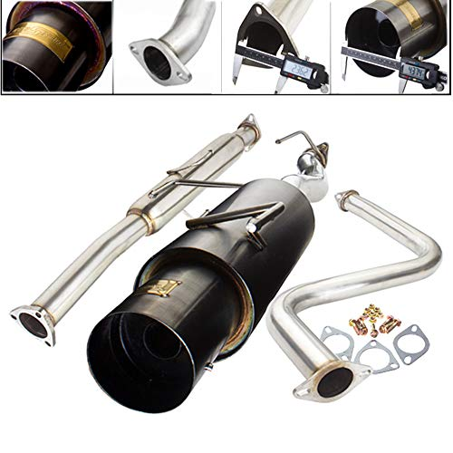 Fit 1992-1996 Honda Prelude 2.25 Inch Stainless Steel Catback Exhaust System 4 Inch Gun Metal Muffler Tip