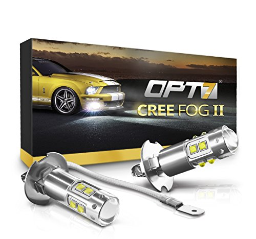 OPT7 H3 CREE LED DRL Fog Light Bulbs - All Bulb Sizes and Colors - 5000K Bright White @ 700 Lm per bulb - Plug-n-Play (Pack of 2)
