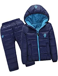 Kids Down Jacket Set 2 Piece Hooded Snowsuit With Ski Pants