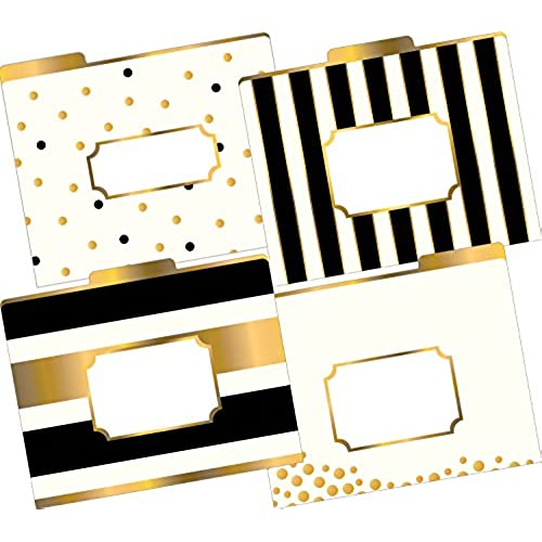 Barker Creek Fashion File Folders   Gold, Set Of 12 (LL 1337)