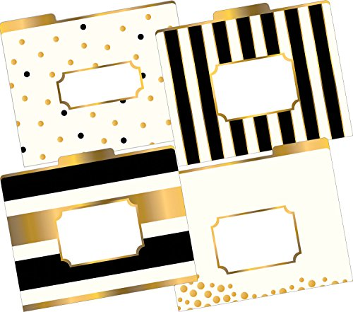 Barker Creek Fashion File Folders - Gold, Set of 12 (Fashion Folders)