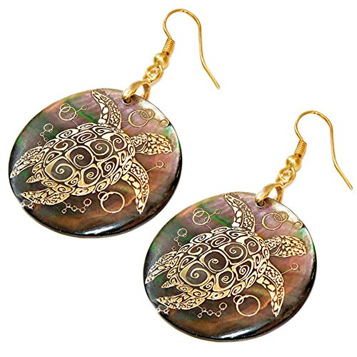 Liavy's Sea Turtle Fashionable Earrings - Black Lip Mother of Pearl Shell - Fish Hook - Unique Gift and Souvenir