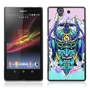 Designer Depo Hard Protection Case for Sony Xperia Z L36H / Neon Japanese Samurai Monster