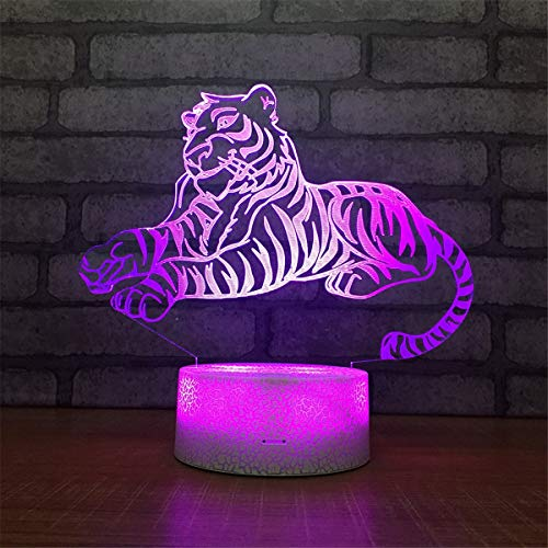 USB Powered Stunning Tiger 7 Colors Remote Control Optical Illusion Night Light Crackle Paint Base Table Desk Lamps 3D Glow LED Lamp Art Sculpture Lights Toy for Kids Gifts