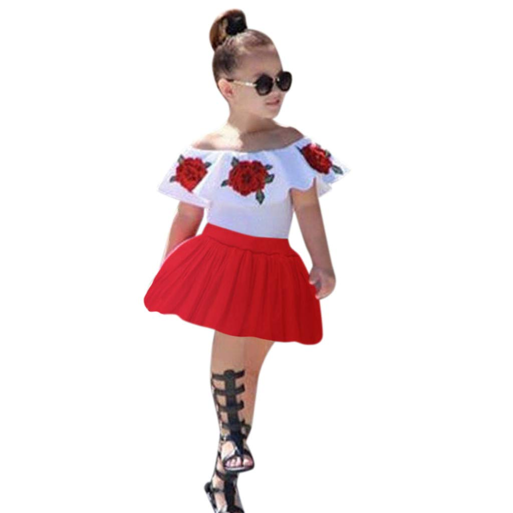 TnaIolral Toddler Set Baby Kids Girl Off Shoulder Embroidery Rose Flowers Tops+Skirts Outfits
