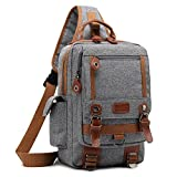 DTBG 13 Inches Messenger Bag Sling Backpack Nylon Shoulder Bag Waterproof Chest Pack Outdoor Cross Body Bag for Men & Women (Grey)
