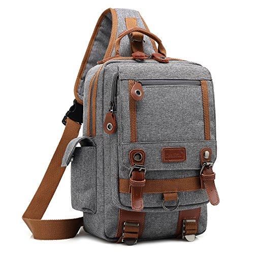 Messenger Sling - DTBG 13 Inches Messenger Bag Sling Backpack Nylon Shoulder Bag Waterproof Chest Pack OutdoorCross Body Bag for Men & Women (Grey)