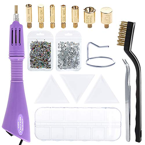 - Hotfix Applicator, LAMPTOP DIY Hot fix Rhinestone Applicator Wand Setter Tool Kit Set with 7 Tips, Tweezers, Brush, Storage Box, 3pcs Bead Sorting Trays and 2 Pack Hot-fix Crystal Rhinestones
