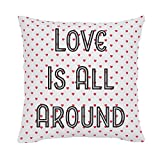Carousel Designs Personalized Custom Coral Hearts Throw Pillow Love Is All Around Idea - Organic 100% Cotton Throw Pillow Cover + Insert - Made in the USA