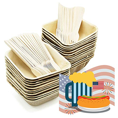 Party Disposable Bowls Dinnerware Set of 75 - Palm Leaf Plates (25) - 16 oz Square Deep Dishes, Wooden Forks(25) & Spoons (25) - Compostable. Great For Wedding, Camping, Birthday, Holidays ()
