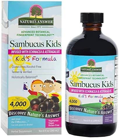 Nature's Answer Sambucus Kids Formula 8-Fluid Ounces Kosher Certified Organic Elderberry Syrup Great Taste Gluten-Free Dietary Supplement No Artificial Preservative