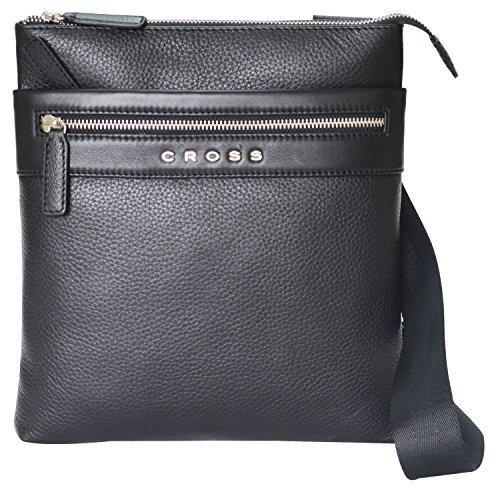 Cross Leather 27 cms Black Messenger Bag (AC021114B-1)