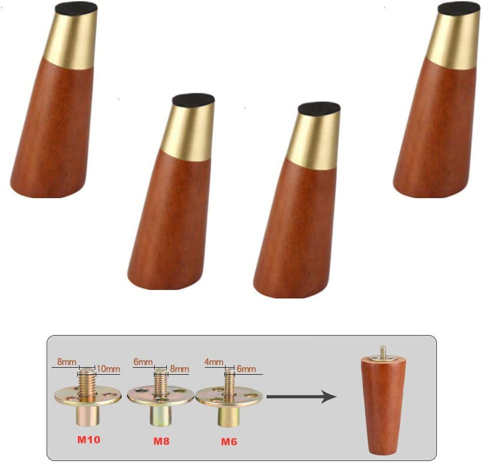 MWPO 4pcs Solid Wood Furniture Leg,Wooden Replacement Sofa Feet,Conical Kitchen Foot Accessories,for Couch/Bed/Chair/TV/Cabinet/Dresser/Coffee Table/Ottoman,Oblique,Walnut,Predrilled Bolt(M1015cm