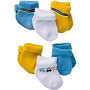 Gerber Baby Boys 6 Pair Socks, Cars, 3-6 Months