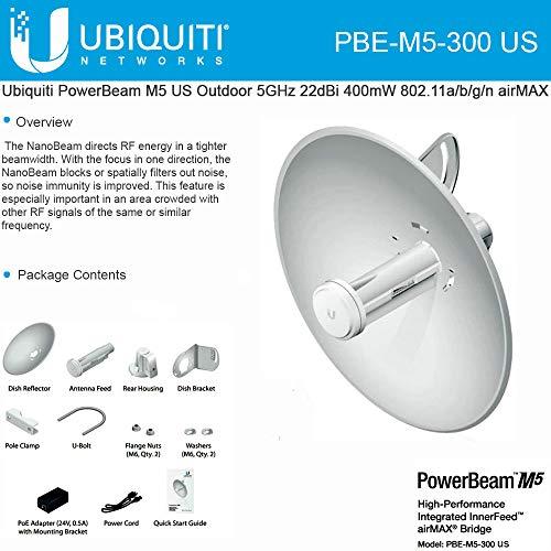 (PowerBeam M5 PBE-M5-300 US 5GHz 22dBi 802.11n Outdoor High-Performance Airmax Bridge CPE Wireless)