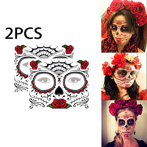 2Pcs Day Of The Dead Face Tattoos Sugar Skull Temporary Tattoo Rose Design Floral Realistic Skeleton Face Tattoo Kit (Red)]()