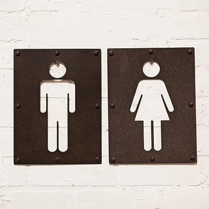 Merveilleux 2 Piece Vintage Metal Iron Bathroom Sign Wall Decor Set Mens Restroom  Womens Restroom Signs