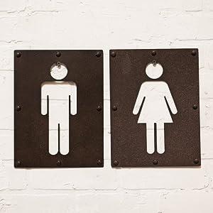 2 Piece Vintage Metal Iron Bathroom Sign Wall Decor Set Mens Restroom  Womens Restroom Signs