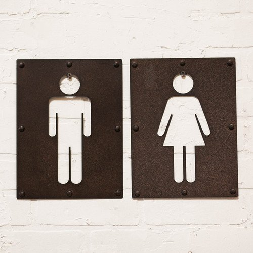 2 Piece Vintage Metal Iron Bathroom Sign Wall Decor Set Mens Restroom Womens Restroom Signs by VIPSSCI