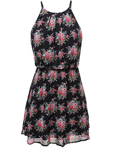 Floral Print Double Layered Romper Mini Dress Black Size L