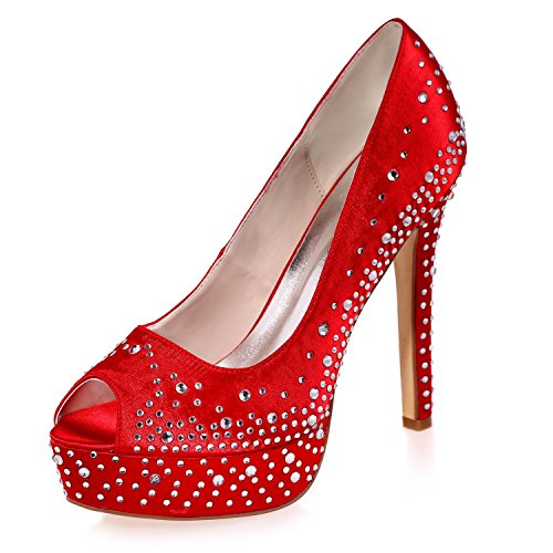 L@YC Mujeres Tacones altos Primavera Verano OtoñO Invierno Y Noche Rhinestone Vestidos De Novia Zapatos De Noche Con 3128-17a Red