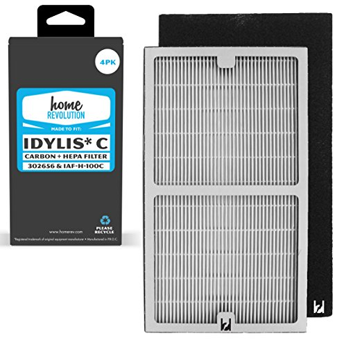 Uv Air Purifier Replacement - Home Revolution Idylis Part # IAF-H-100C for Idylis Air Purifiers IAP-10-200, IAP-10-280, Comparable 2 HEPA Filter Plus 2 Pack Carbon Filter Brand Quality Aftermarket Replacement 4PK