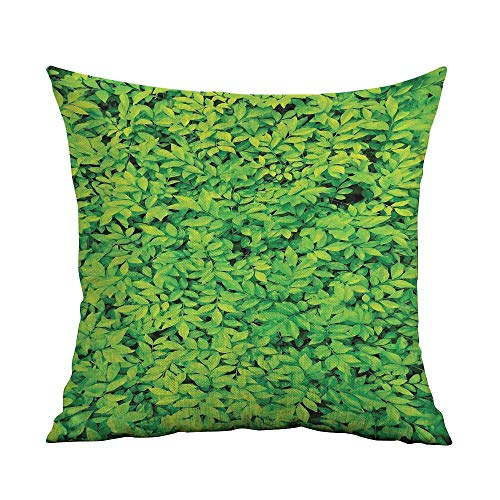 Green Microfiber Fresh Garden Forest Little Leaves Lush Growth Organic Nature Outdoors Woods Plant Sofa Cushion Cover Bedroom car Decoration W20 x L20 Inch Lime Green