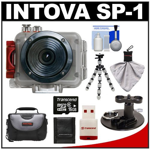 Intova Sport Pro Waterproof HD Sports Video Camera Camcorder with Surf Board Mount + 16GB Card + Case + Flex Tripod + Accessory Kit for Surfing, Wakeboarding, Kiteboarding, Boating and other Watersports