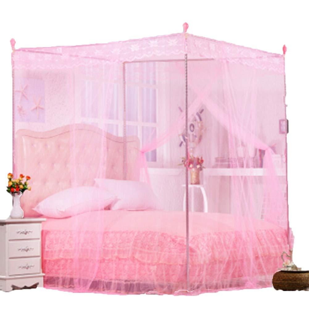 CONGMING ベッドカーテン3ドアカーテンレースカーテン大胆な金属製ブラケットベッド5サイズに適しています蚊に刺されて厚い暗号化ベッドカーテン (Size : Pink-1.2x2.0M bed, Size : 25mm support) B07SSL1DBF