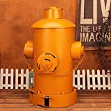 WAWZJ Rubbish Bin American Style Industrial Wind Retro Trash Cans Home Living Room Kitchen Iron Foot Fire Hydrant Covered Garbage Can,Yellow