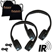 [2 Pack] 2 Channel KID SIZE Universal IR Infrared Wireless or Wired Car Headphones Autotain Cloud