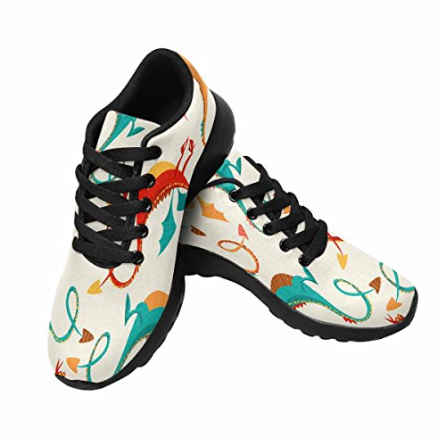InterestPrint Womens Jogging Running Sneaker Lightweight Go Easy Walking Comfort Sports Athletic Shoes Multi-Colored Funny Dragons HrEWHjRVI