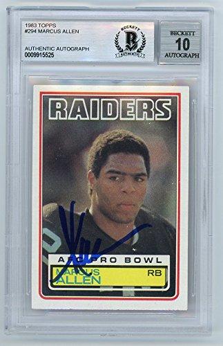 Marcus Allen Autograph - Marcus Allen 1983 Topps Football Autograph Auto Rookie Card #294 - BAS 10