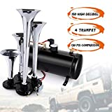 150DB Train Air Horn Kit, 4 Trumpet Train Horn Kit with 120 PSI Air Compressor 1.5 Gal Air Tank for Car Truck Train Van Boat (Black)