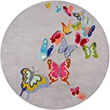 Momeni Rugs LMOJULMJ32GRY500R Lil' Mo Whimsy Collection Kids Themed Hand Carved & Tufted Round Area Rug, 5′, Grey