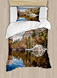 Ambesonne Yosemite Duvet Cover Set Twin Size, Yosemite Mirror Lake and Mountain Reflection on Water Sunset Evening View Picture, Decorative 2 Piece Bedding Set with 1 Pillow Sham, Navy Brown