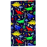 """CC EFIND Beach Towel for Kids, 100% Cotton Soft Blanket Throw, 24"""" X 48"""" Dinosaur Terry Towel for Travel, Beach, Swimming, Bath, Camping, and Picnic"""