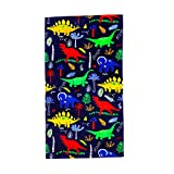 YIFONTIN Beach Towel for Kids, 100% Cotton Soft Blanket Throw, 24' X 48' Dinosaur Terry Towel for Travel, Beach, Swimming, Bath, Camping, and Picnic