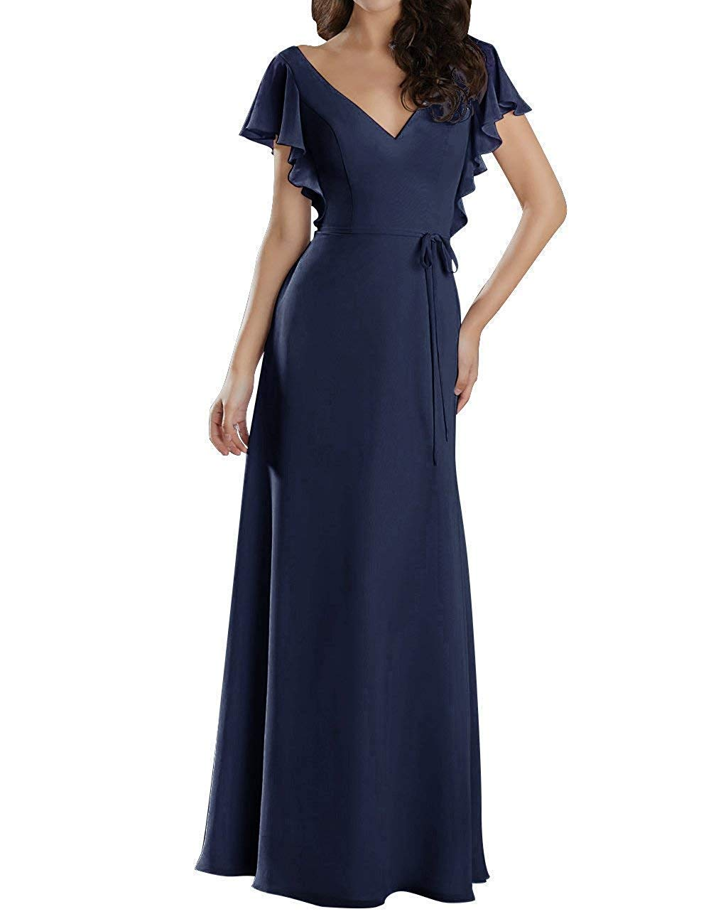 Jqld Womens Ruffles Chiffon Long Bridesmaid Dresses Short Sleeve Formal Evening Prom Gowns Navy Blue Us8