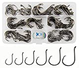 JSHANMEI 150pcs/box Circle Hooks 2X Strong Customized Offset Sport Circle Hooks Black High Carbon Steel Octopus Fishing Hooks Size 1-5/0