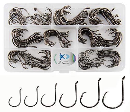 - JSHANMEI 150pcs/box Circle Hooks 2X Strong Customized Offset Sport Circle Hooks Black High Carbon Steel Octopus Fishing Hooks-Size:#1-5/0