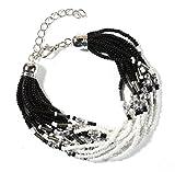 Black into White, Multi Strand Indian Bead Bracelet, 8.0 Inches Adjustable