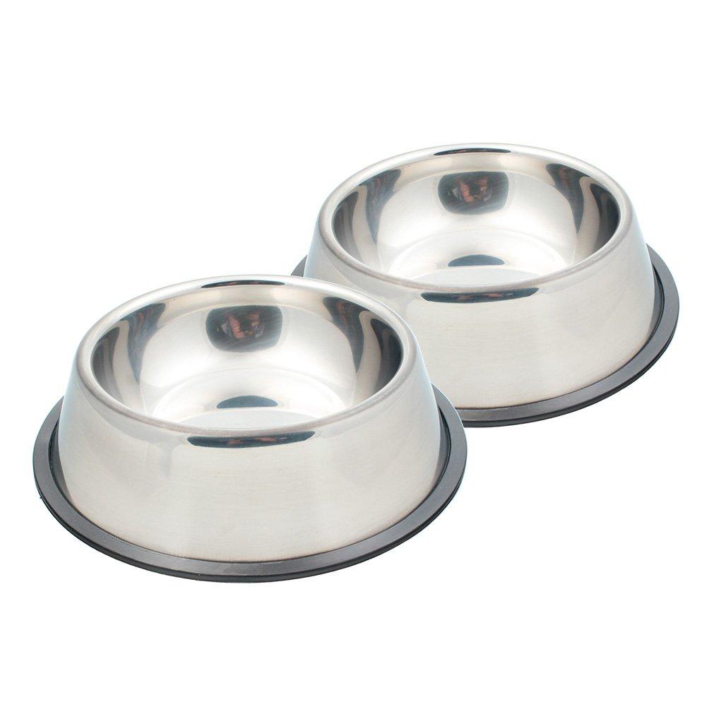 Ciotole per cani, SAVORI 320ml / 4,5 oncia a mano con strass scintillanti in acciaio inox Ciotole per animali domestici doppia alimentazione per acqua per cani per cuccioli gatti (Rosa) GW-D001