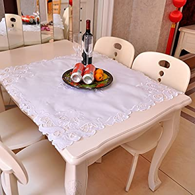 Polyester Lace Tablecloth by Hand Embroidered,White Floral Cutwork Table Linens,Size: 33.5 Inch Square