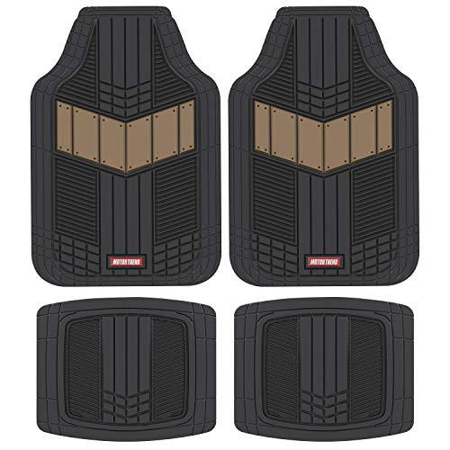 - Motor Trend MTX101 Beige DualFlex Two-Tone Rubber Car Floor Mats for Automotive SUV Van Truck Liners - Channel Drainer All Weather Protection
