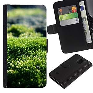 Billetera de Cuero Caso Titular de la tarjeta Carcasa Funda para Samsung Galaxy S5 Mini, SM-G800, NOT S5 REGULAR! / Green Nature Sun Summer / STRONG
