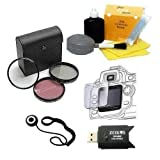 ZE-FLK58 58mm Multi-Coated 3 Piece Filter Kit (UV-CPL-FLD) + DIGI TECH Professional 5 Piece cleaning Kit+ LCD Screen Protector + Cap Keeper + USB High Speed SD Reader