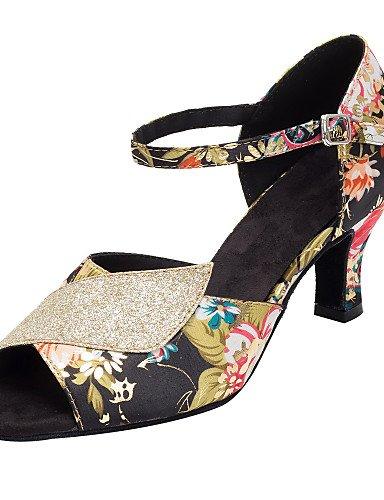 La mode moderne de la femme fleur paillette Sandales Chaussures de danse de bal / Paillette Satin Salsa Latino / sandales talon personnalisé professionnel,Noir/Rouge,8 / EU39 / UK6 / CN39